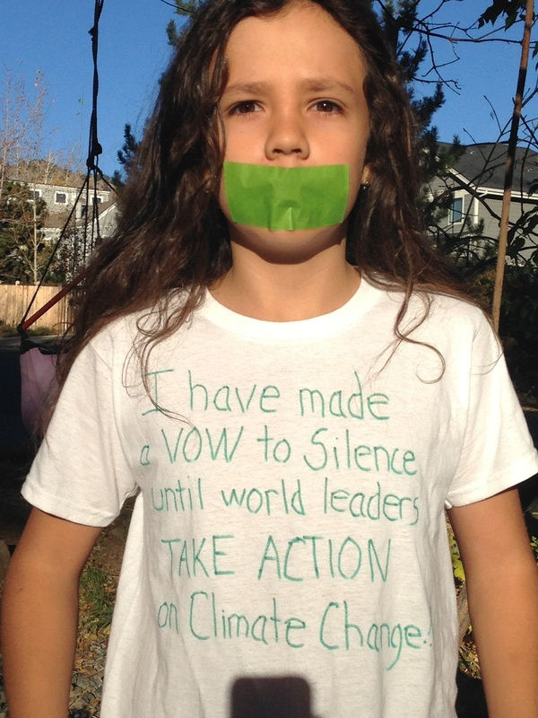 Itzcuauhtli, 11 years old, vows silence for climate change.