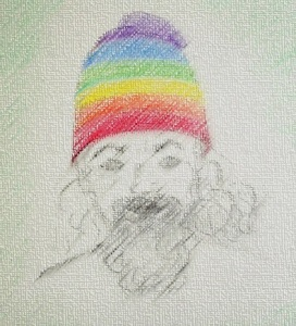 draw man in rainbow hat