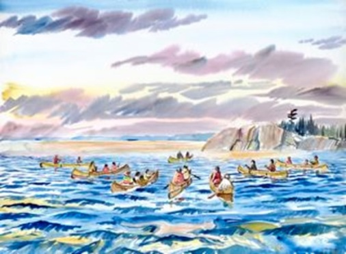 The Water Ceremony, by Ojibwe Artist and Scholar, Carl Gawboy